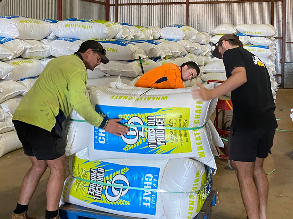 The O'Driscoll team prepare a load of Farmcut chaff for delivery.