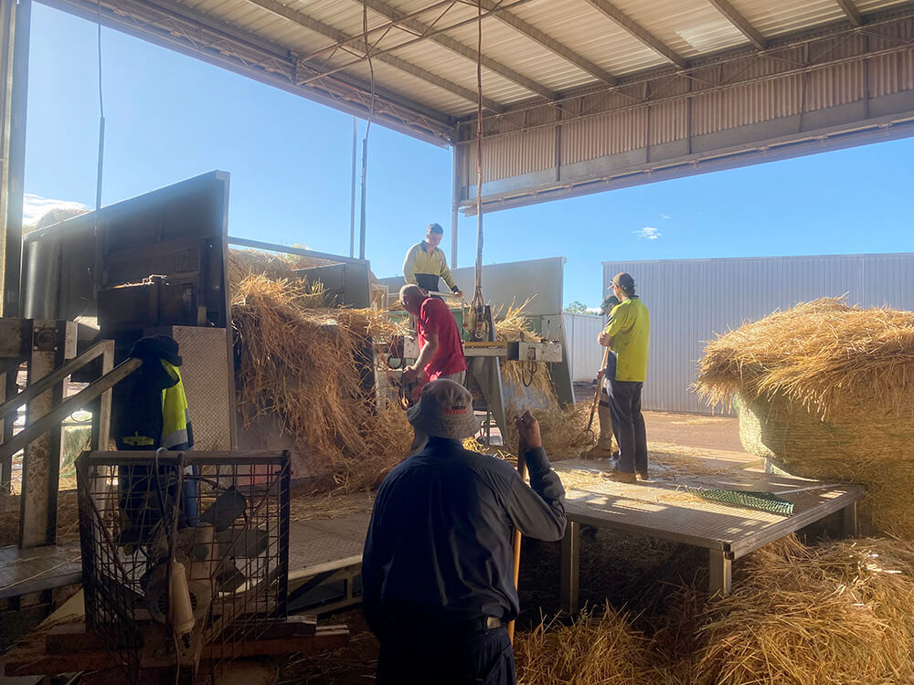 The team at O'Driscoll Produce feed the hay through the machinery.
